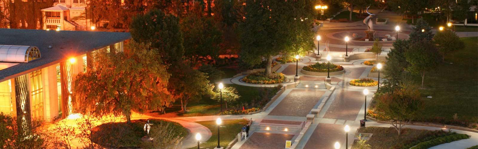 Creighton Campus mall at night