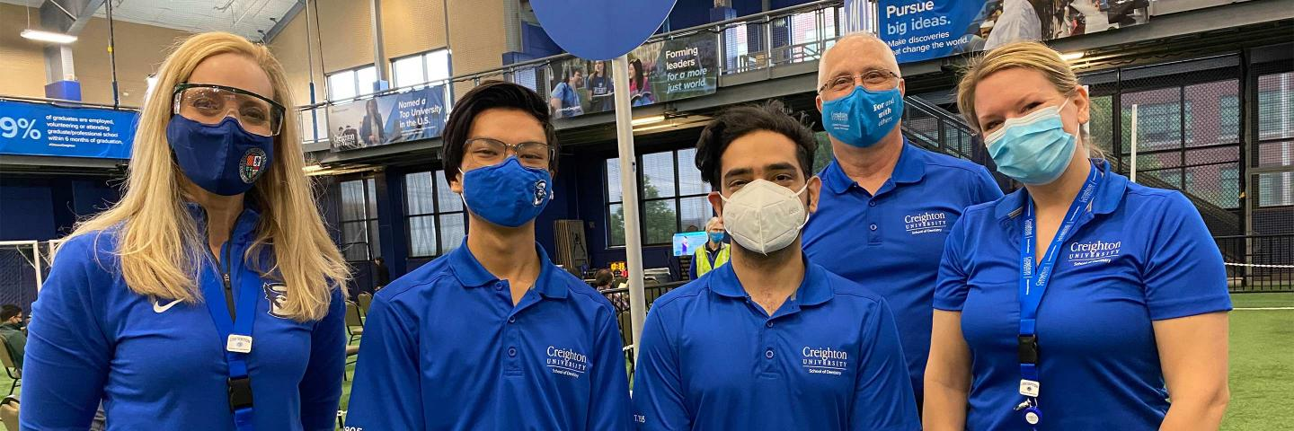 Dentistry volunteers at the Creighton COVID-19 Vaccine Clinic